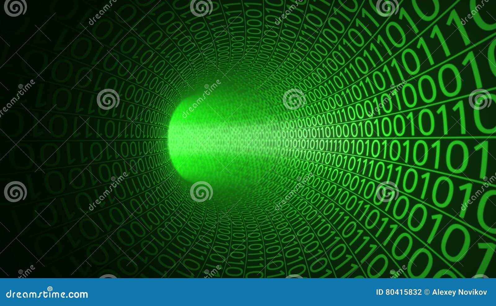 Migrar através do túnel verde abstrato feito com zero e uns Fundo alta tecnologia A TI, transferência de dados binários, digital