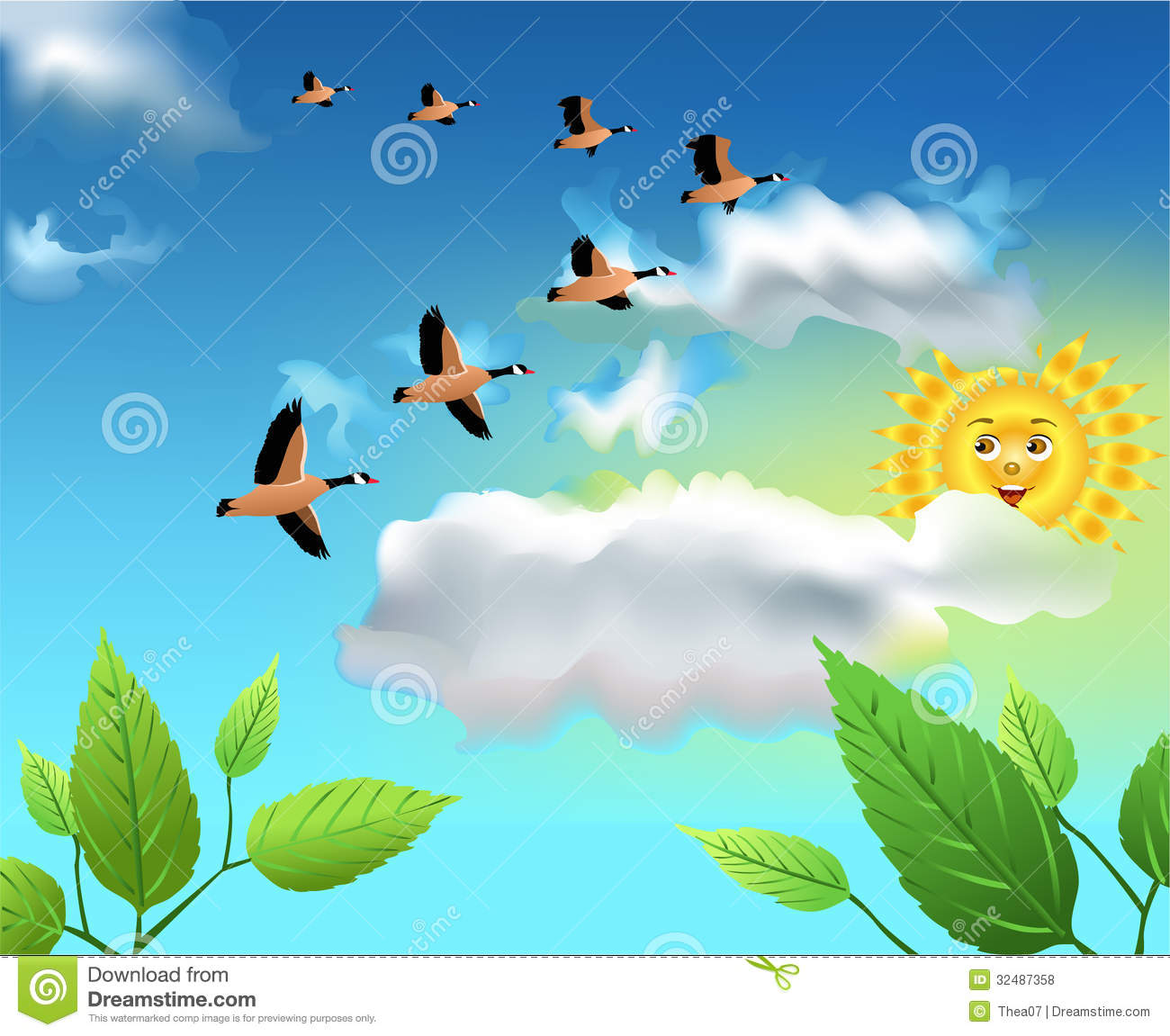 migrating birds flying on the sky stock vector illustration of