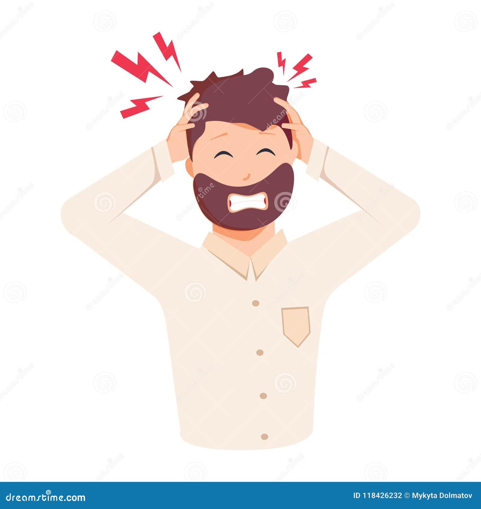 Migrena, frustracja, złość Płaska projekta wektoru ilustracja Zdrowie I ból Zaakcentowany Skołowany młody człowiek