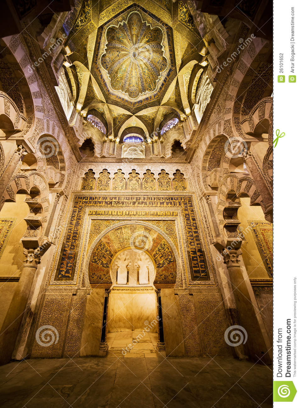mihrab and ceiling of mezquita in cordoba stock photography image 26101652. Black Bedroom Furniture Sets. Home Design Ideas