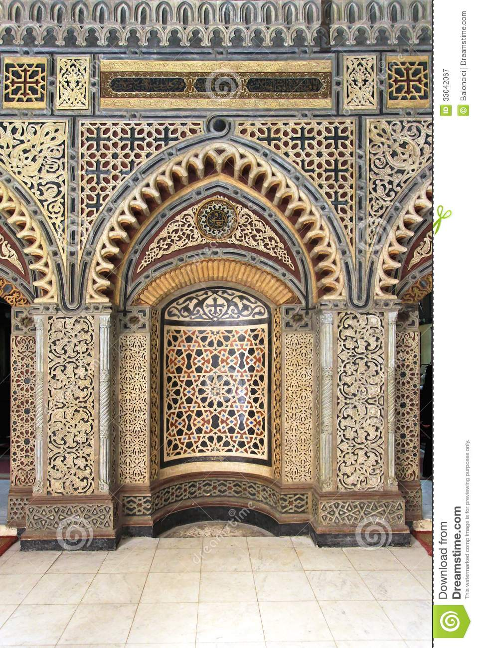 Traditional Islamic pattern decoration at Mihrab in Cairo.