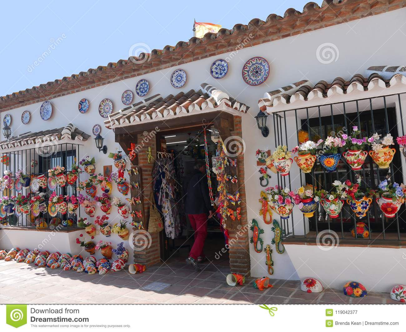 Pottery Shop In Mijas In The Mountains Above The Costa Del