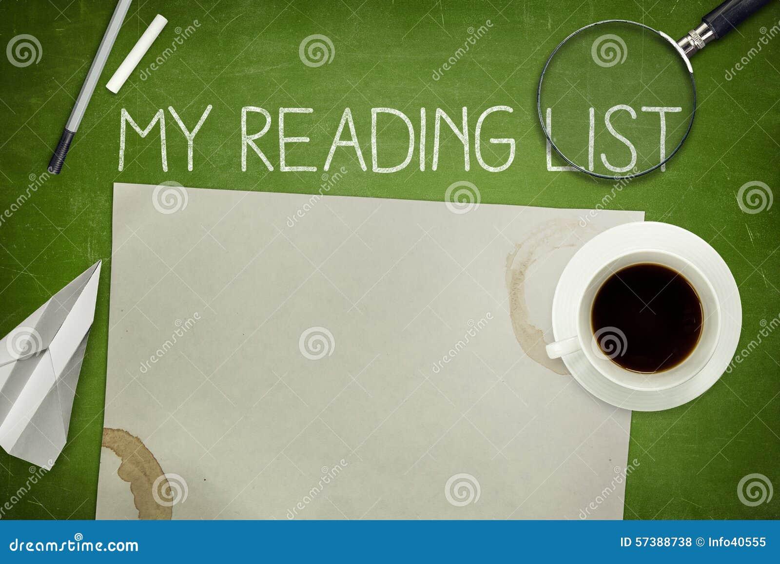 Mijn concept van de lezingslijst op groen bord met
