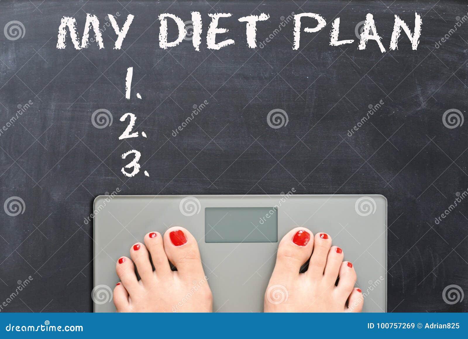 Mijn dieetplan op bord met vrouwenvoeten op een gewichtsschaal