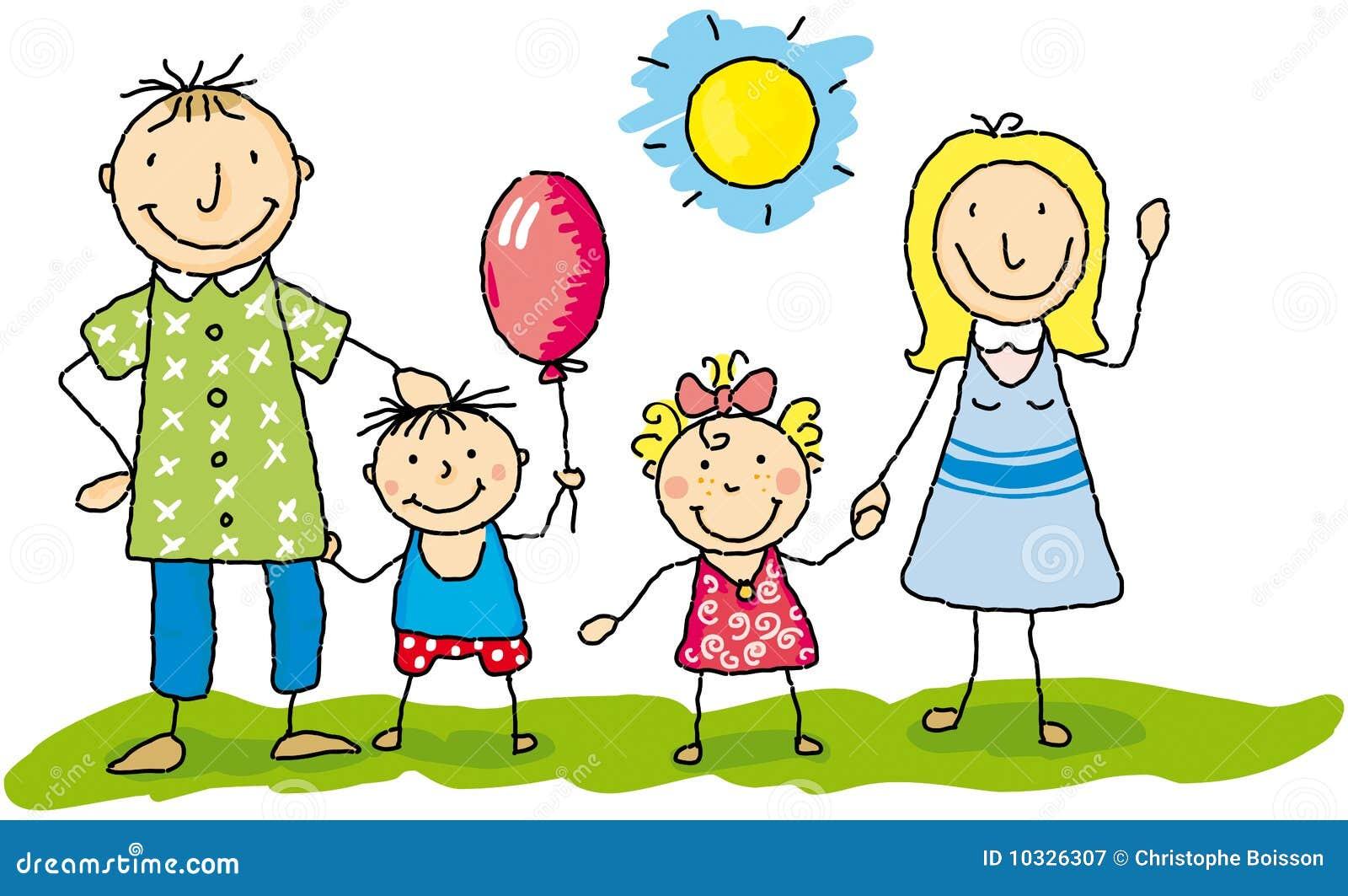 Mijn Familie Gelukkig Illustratie