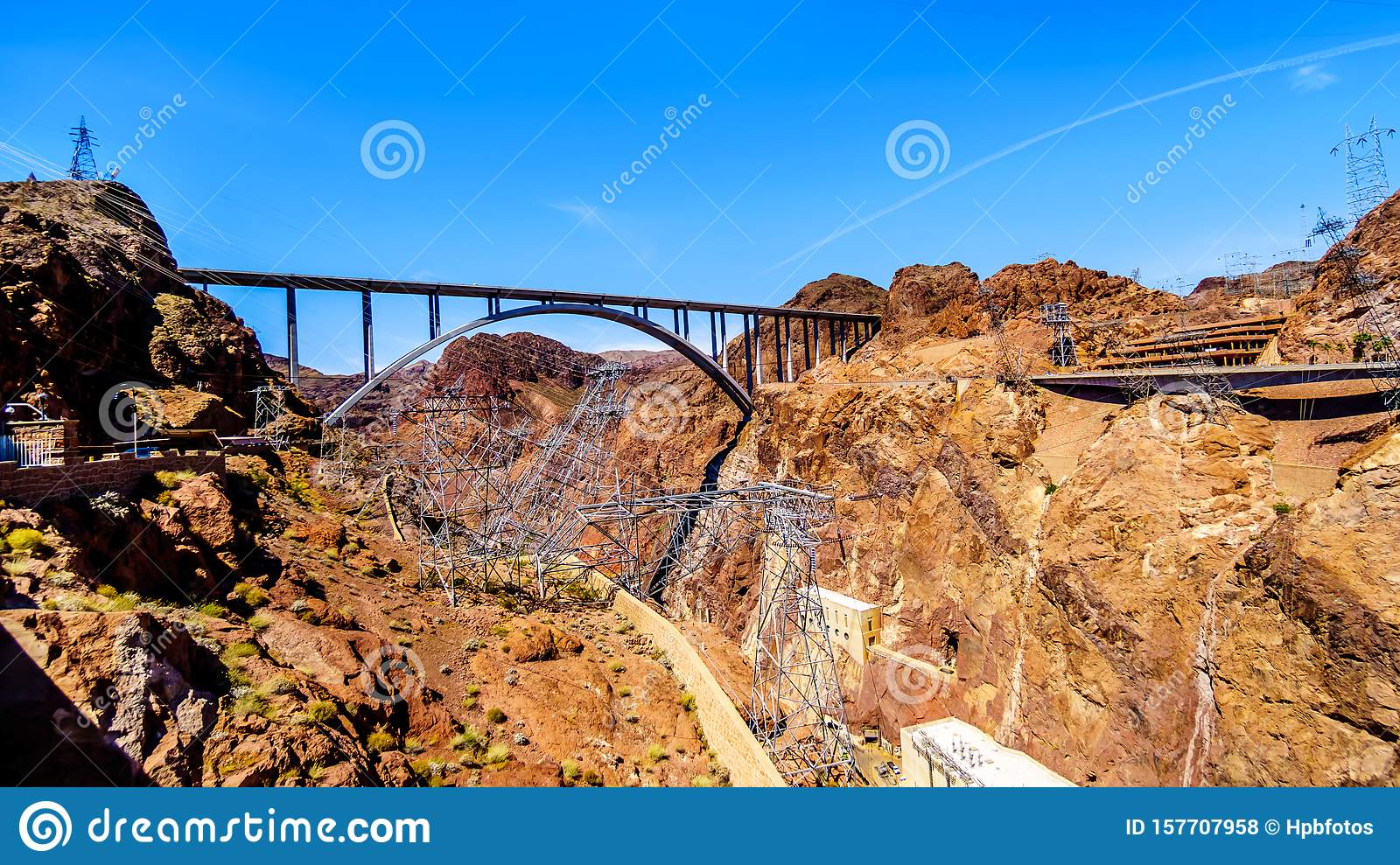 The Mike O`Callaghan–Pat Tillman Memorial Bridge that crosses the Colorado river just downstream of the Hoover Dam