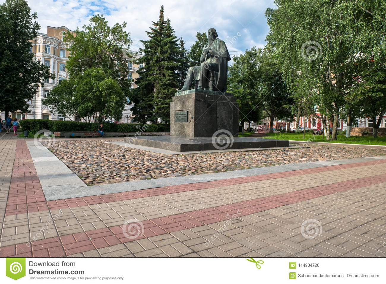 The monument to the major Russian satirist of the 19th century Saltykov-Shchedrin in the city of Tver, Russia.