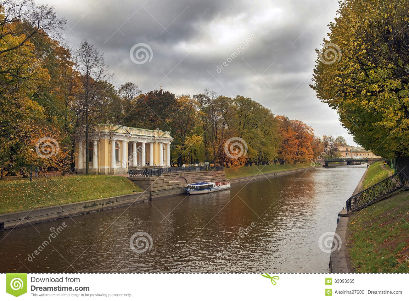 Mikhailovsky Garden And Moyka River, Saint Petersburg, Russia Stock ...