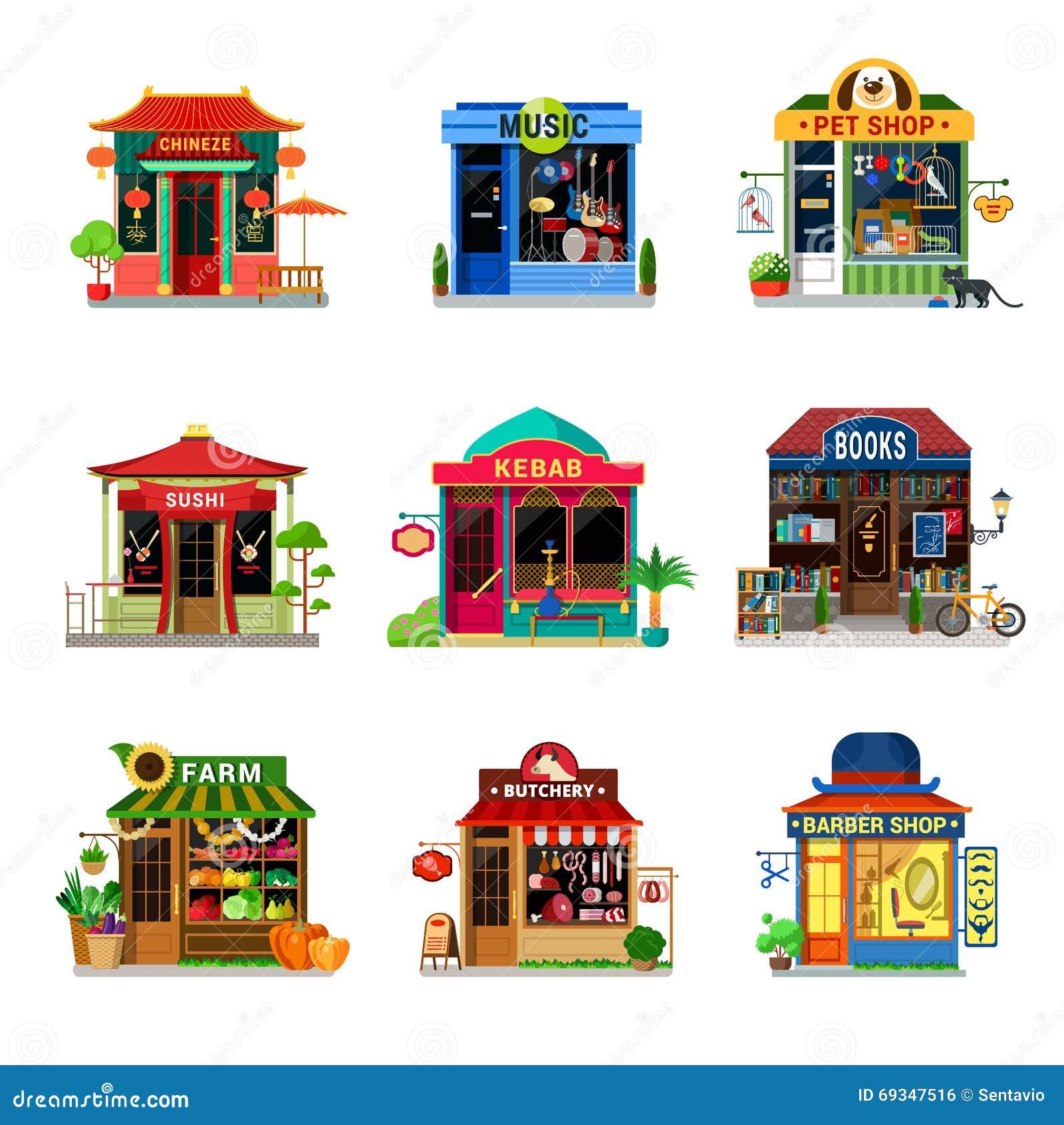 Mikro ikona sklepu sklepu spożywczego gabloty wystawowej suszi kebabu mieszkania wektor