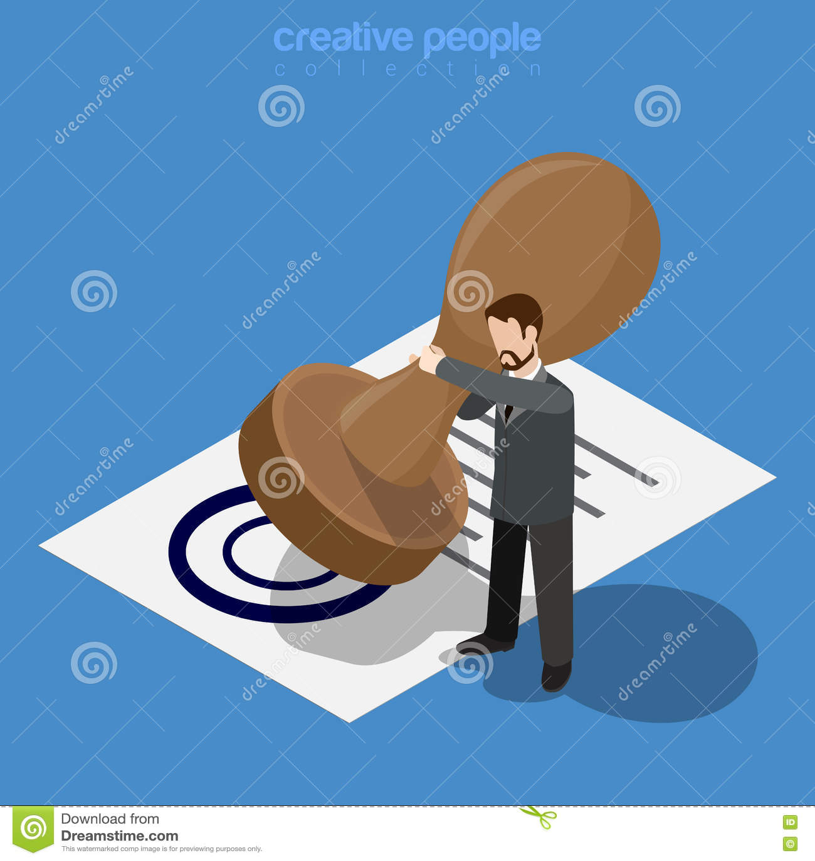 Mikro urzędnika mężczyzna robi ogromnemu stemplowemu dokumentowi f