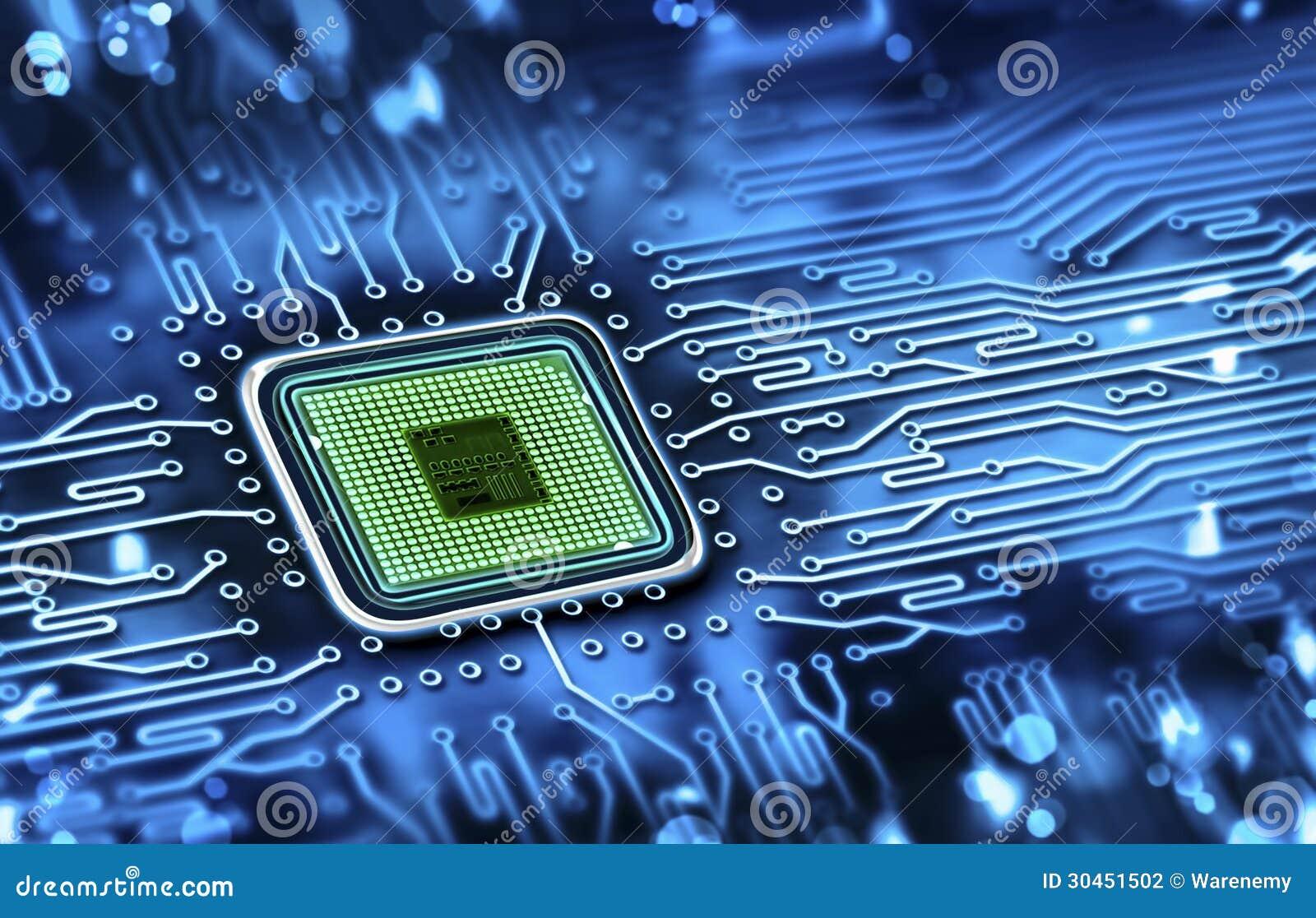 Mikrochip integriert auf Motherboard