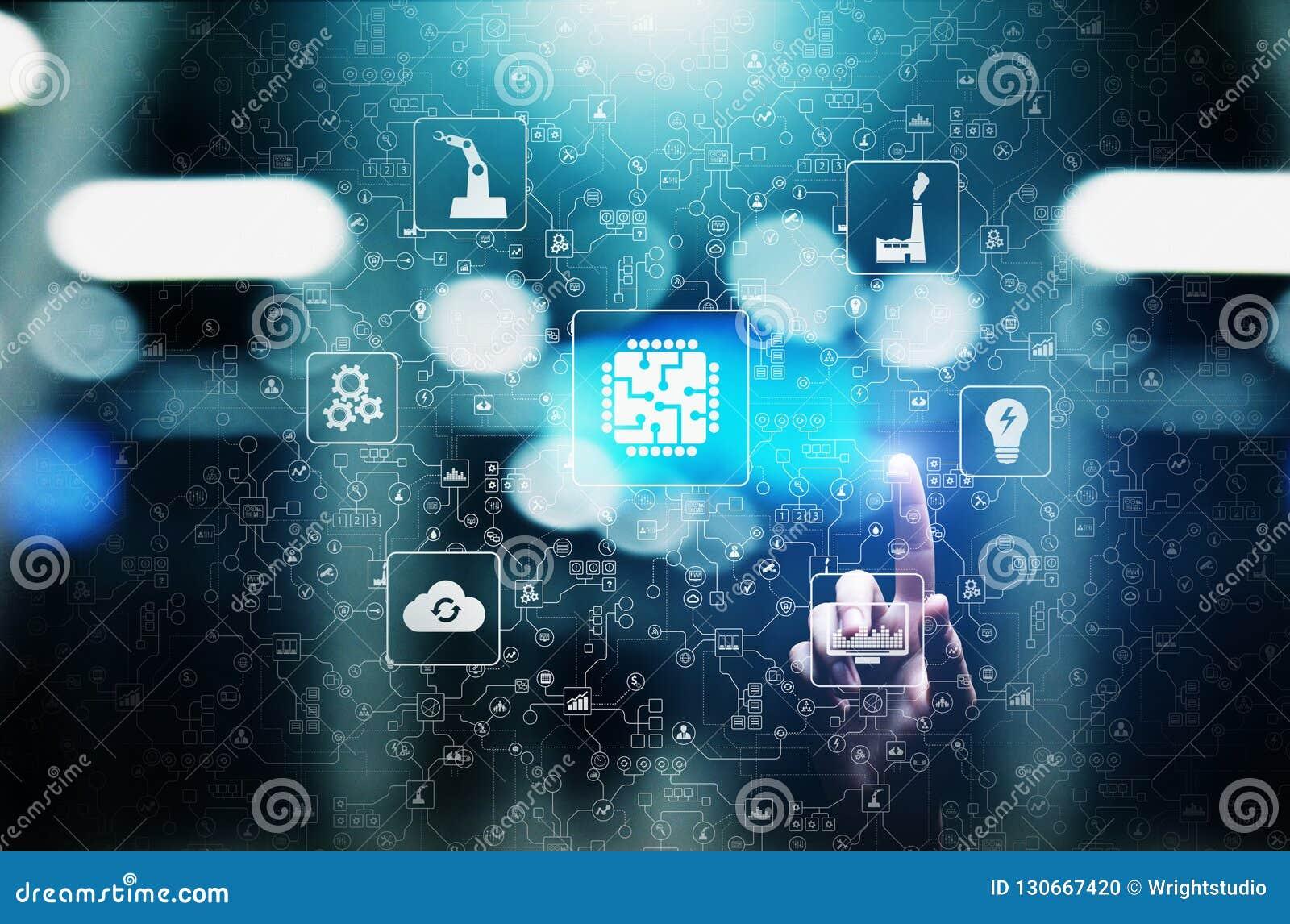 Mikrochips, konstgjord intelligens, automation och internet av saker IOT, Digital integration begrepp isolerad teknologiwhite