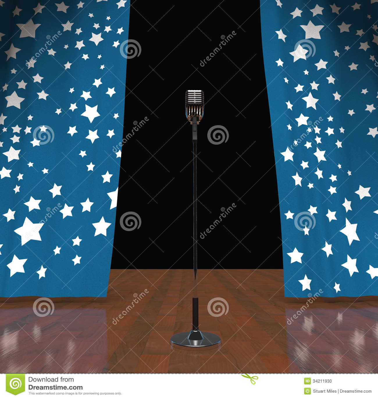 Mikrofon Auf Buhnenshow Konzert Oder Talent Show Stock Abbildung