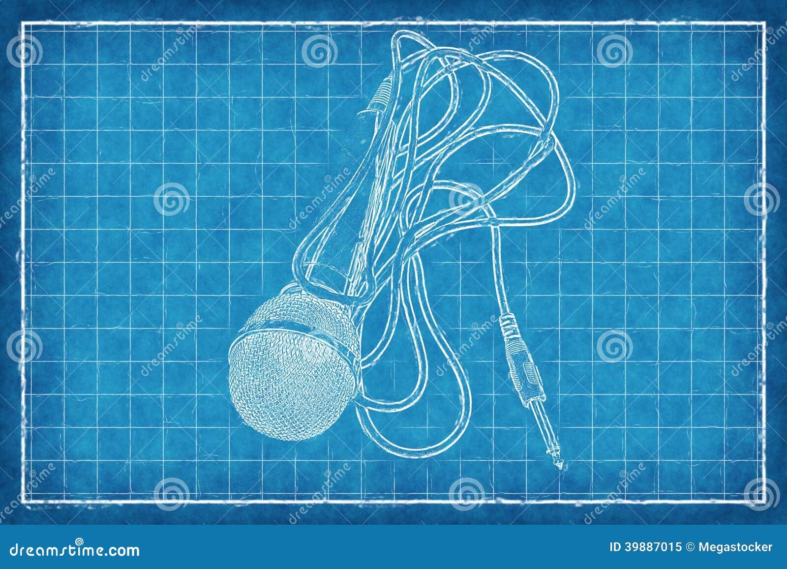 Mikrofon- Blaupause stock abbildung. Illustration von blau - 39887015