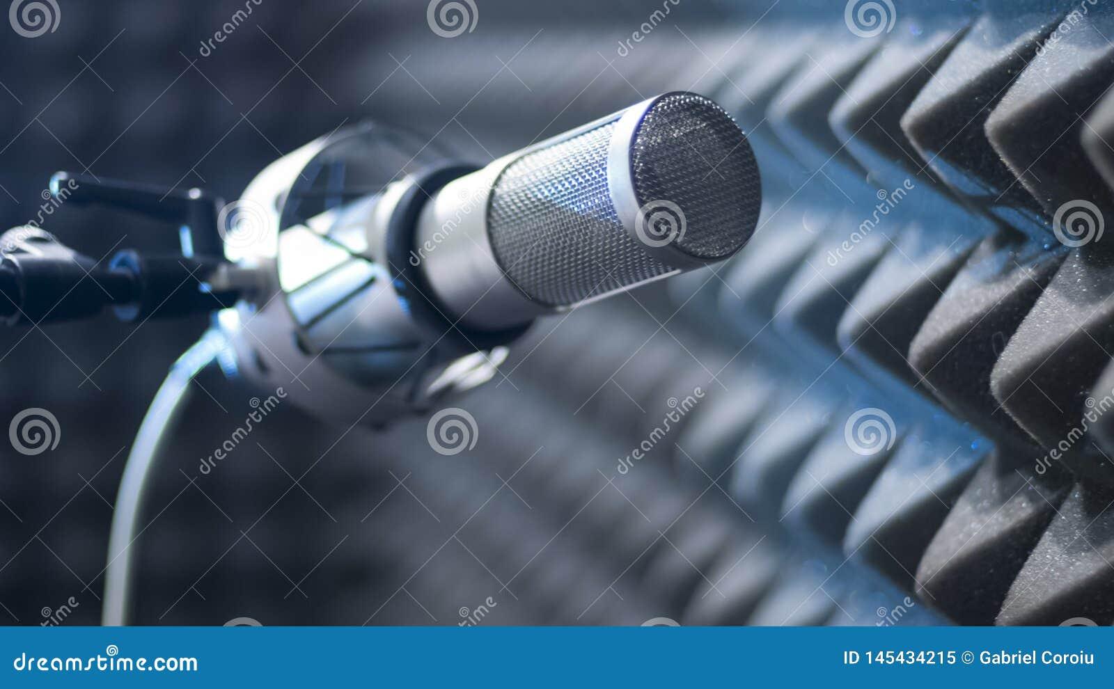 Mikrofon gotowy dla nagrywa? w soundproofed pokoju