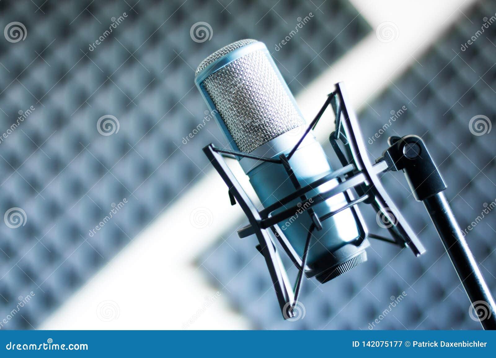 Mikrofon i en yrkesmässig inspelning- eller radiostudio, solid isolering i den oskarpa bakgrunden