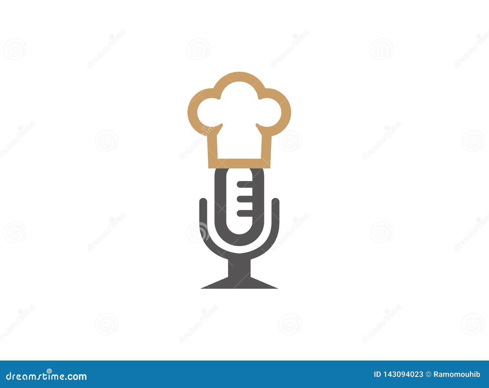 Mikrofon lub speakerphone z kuchenka kapeluszem dla logo projekta
