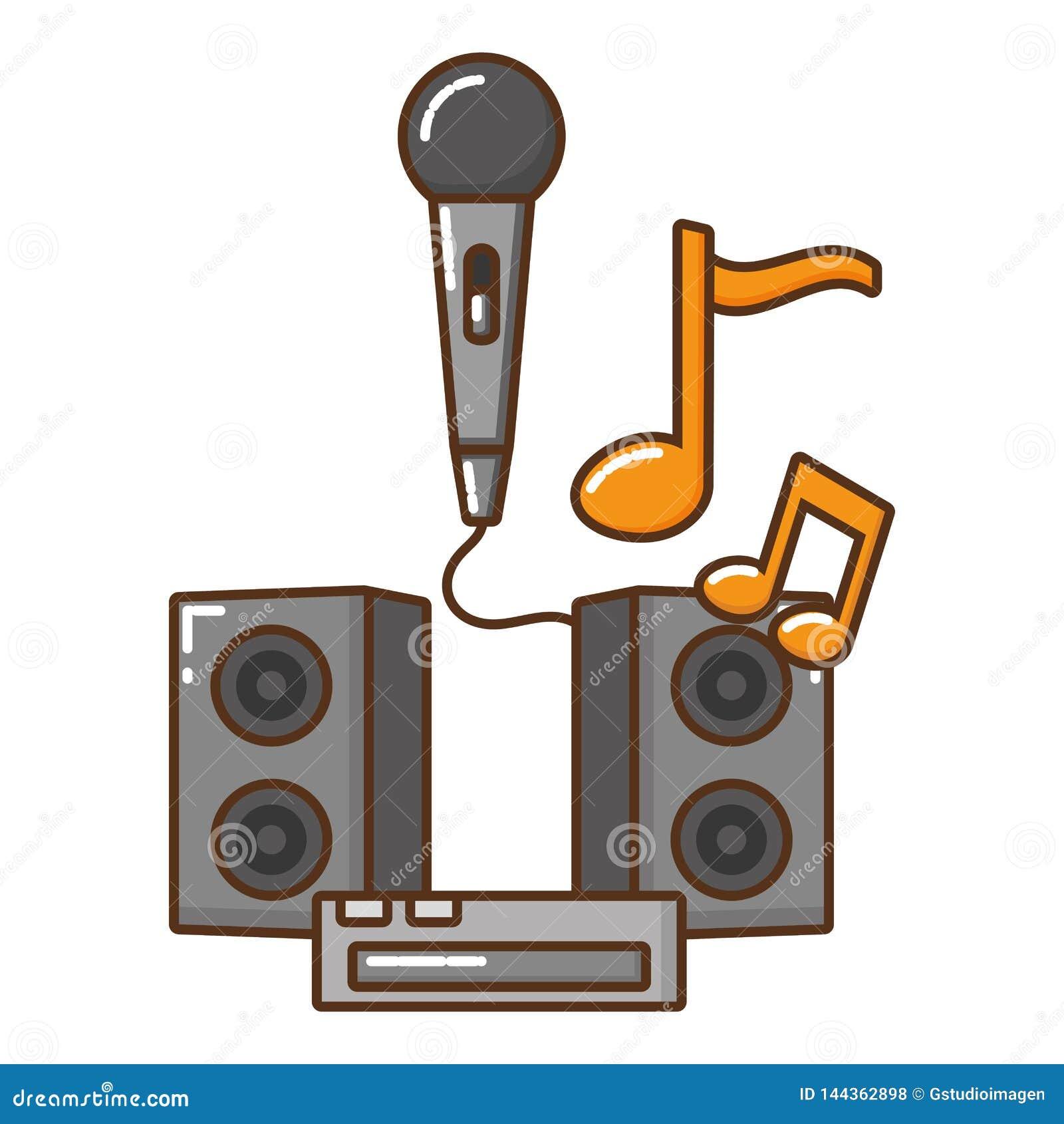 Mikrofon med den isolerade symbolen för musikaliska anmärkningar