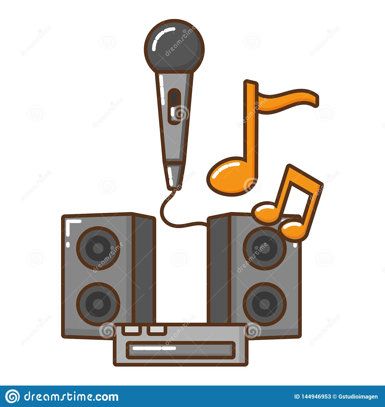 Mikrofon med den isolerade symbolen f?r musikaliska anm?rkningar