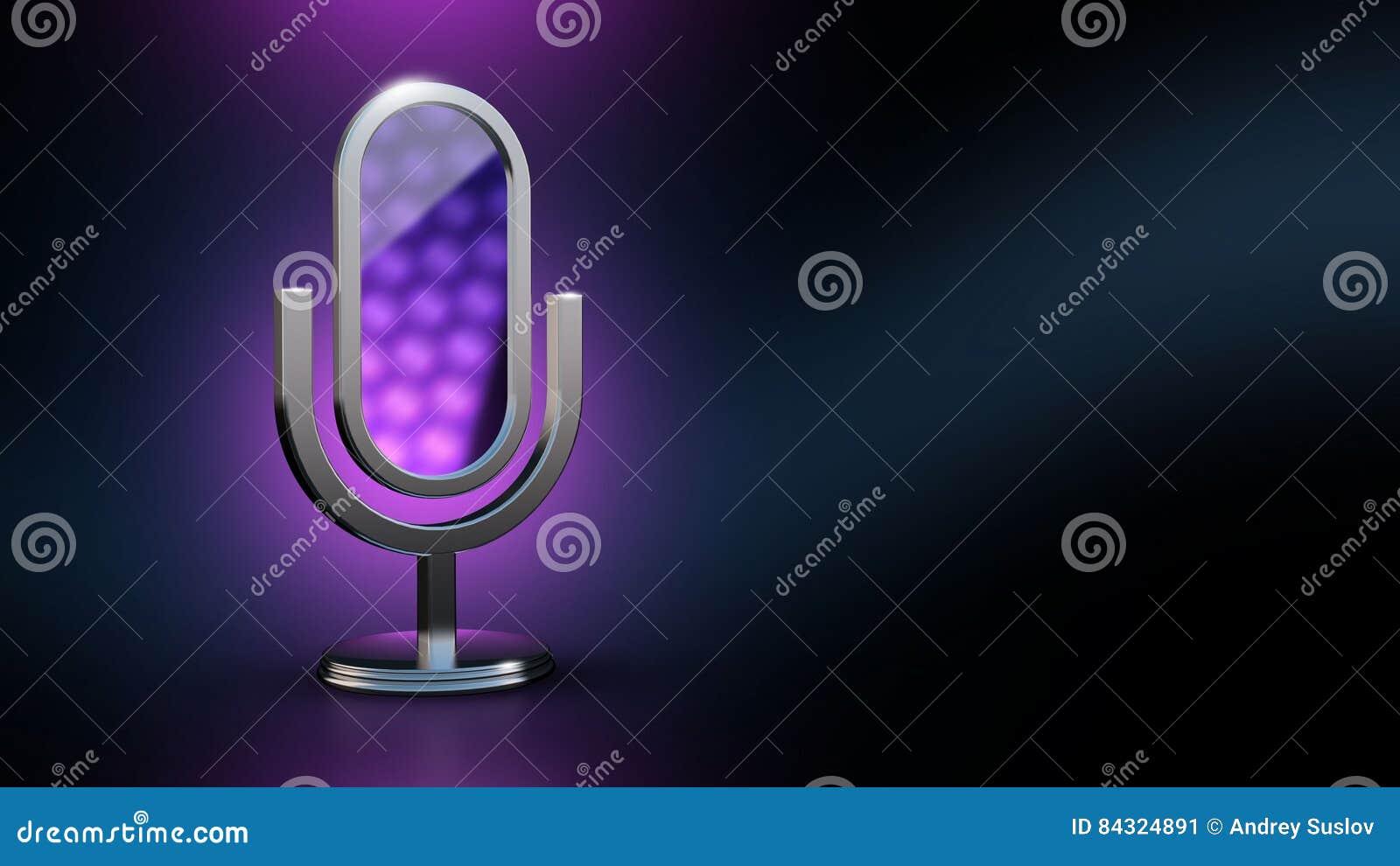 Mikrofonen är en spegel Mobil app Illustration för assistentstylist 3D framförande 3d