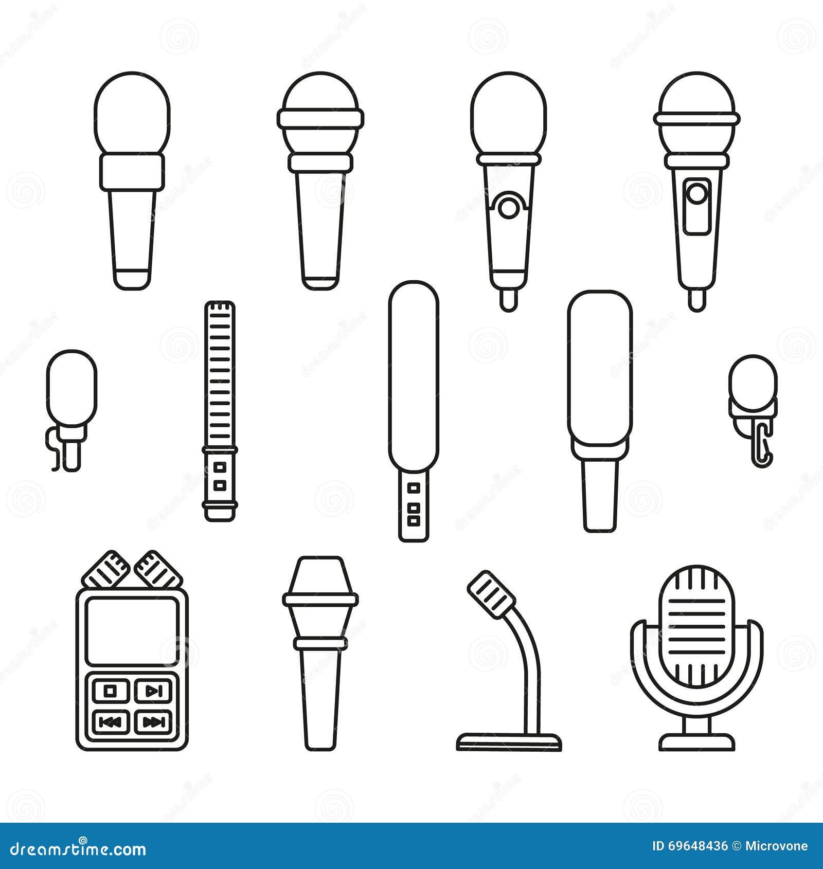 Mikrofonu konturu ikony