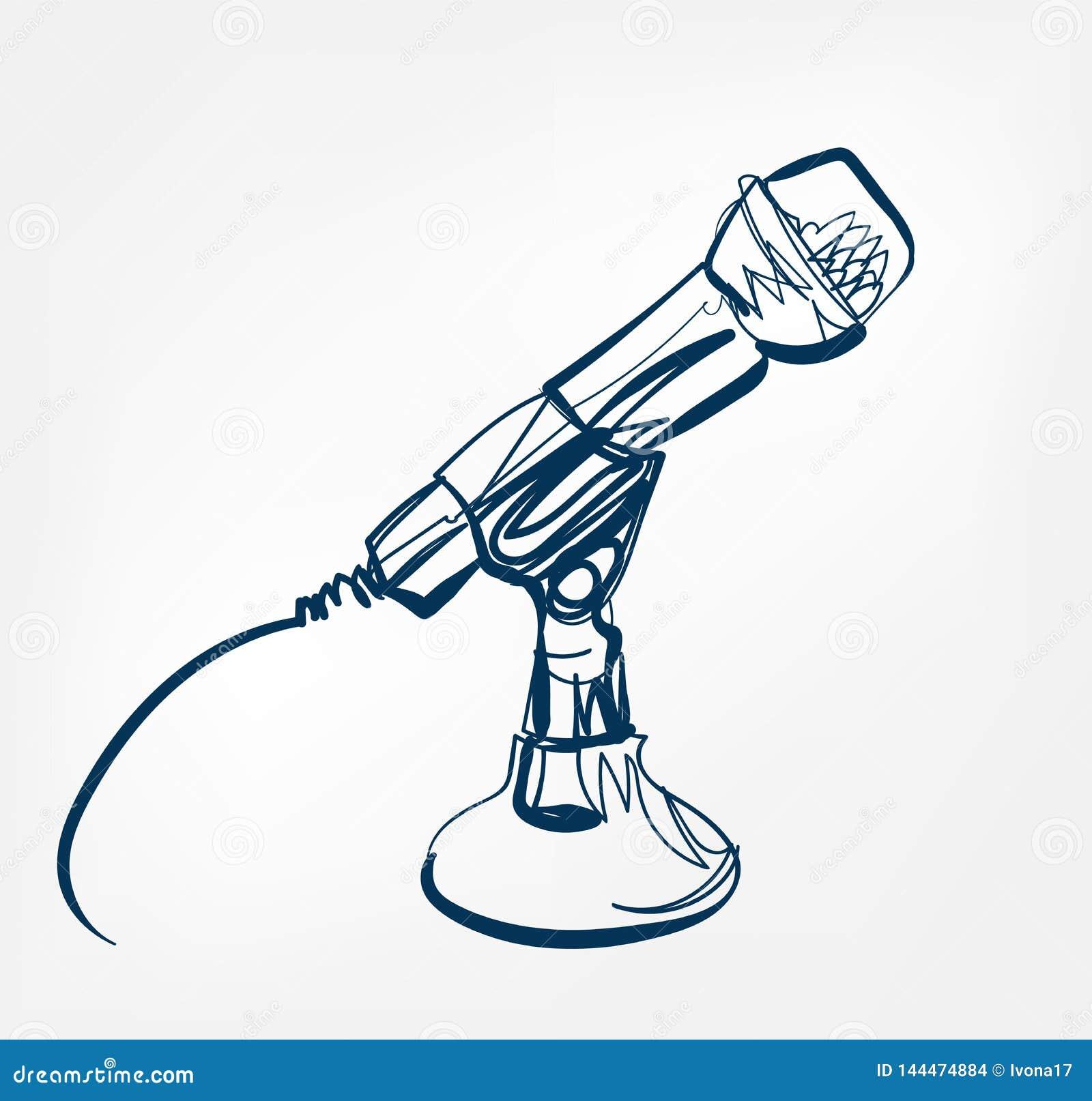 Mikrofonu nakreślenia linii projekta muzyki radio