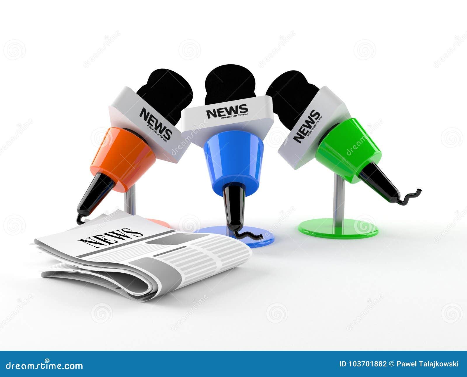 Mikrofony z gazetą