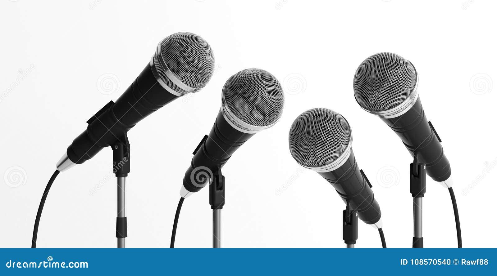 Mikrophone auf den Ständen lokalisiert auf weißem Hintergrund Abbildung 3D