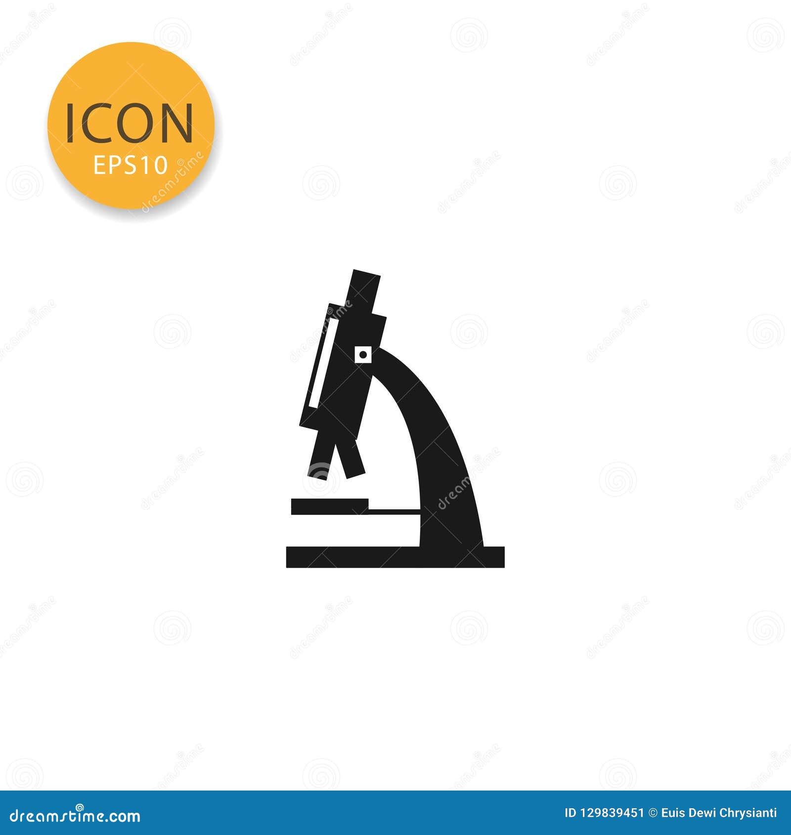Mikroskopu mieszkania ikona odizolowywający styl