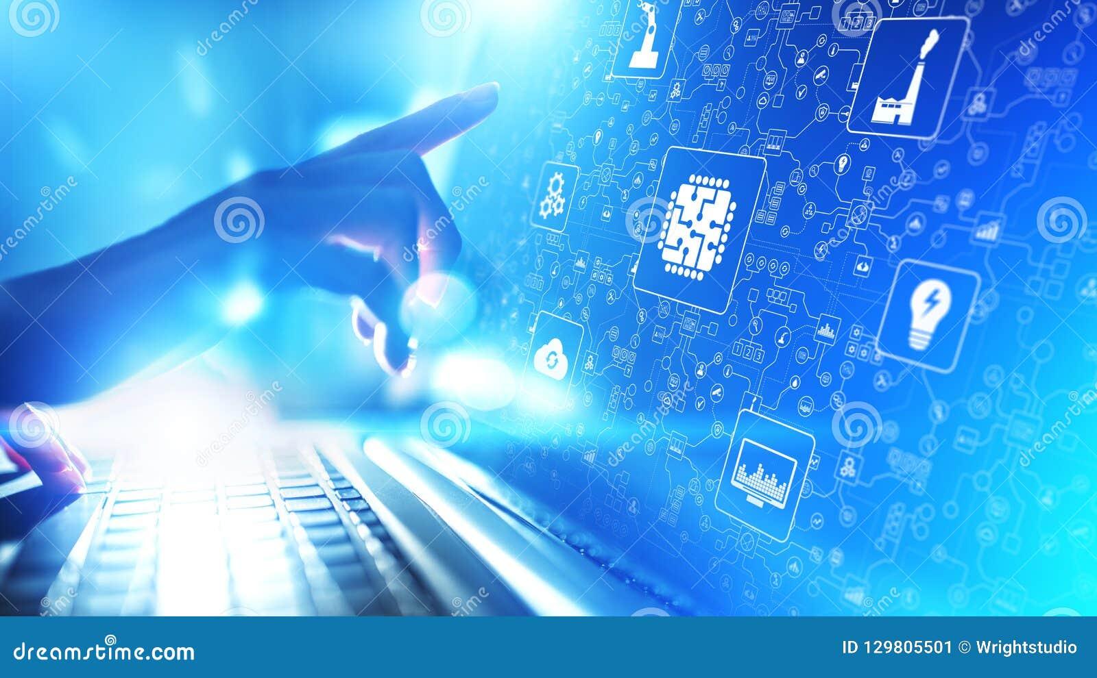 Mikroukład, sztuczna inteligencja, automatyzacja i internet rzeczy IOT, Cyfrowej integracja pojęcia odosobniony technologii biel