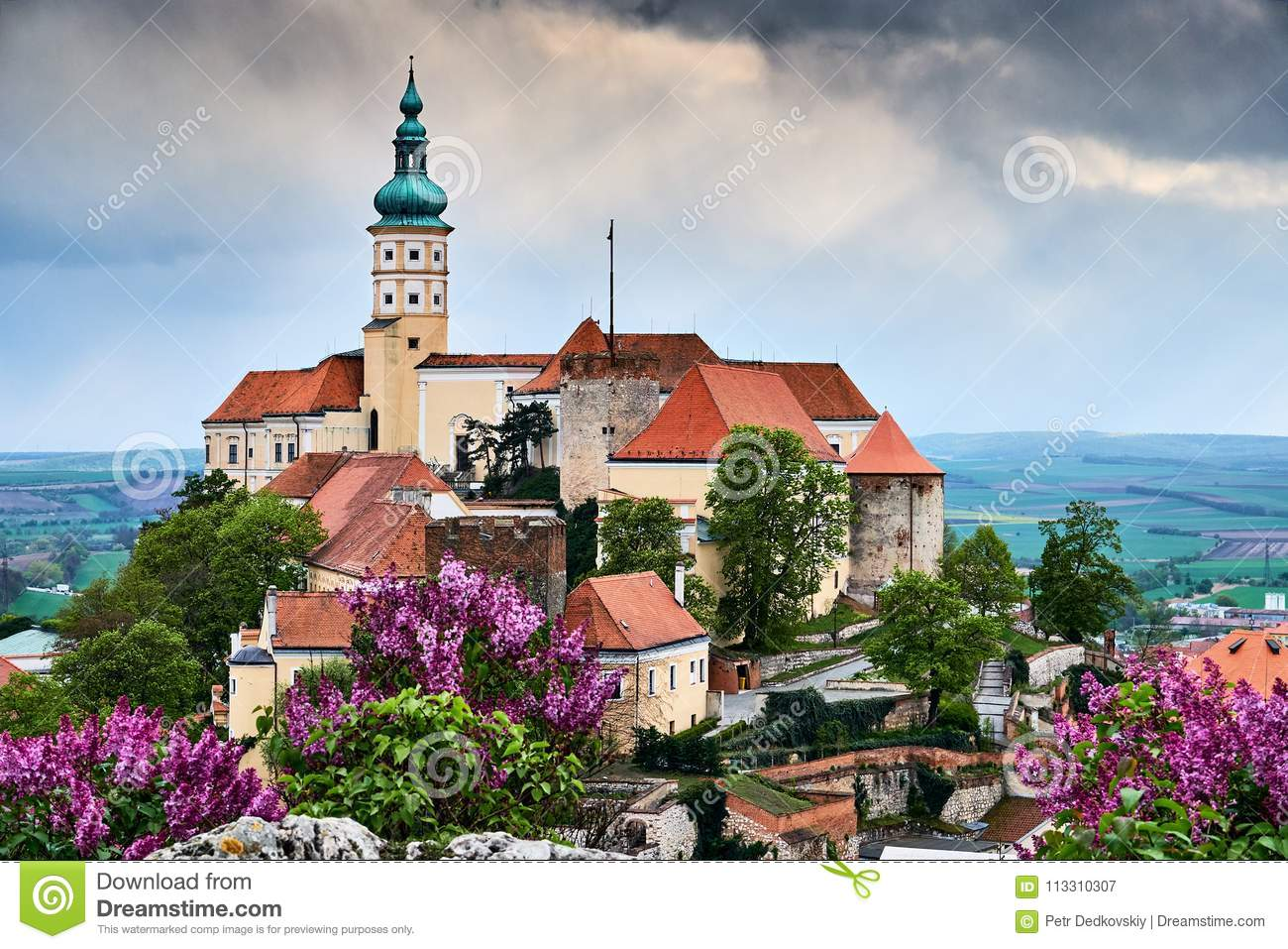 Mikulov castle or mikulov chateau on top of rock colorful panorama view over rooftops on the city.South Moravia Czech republic