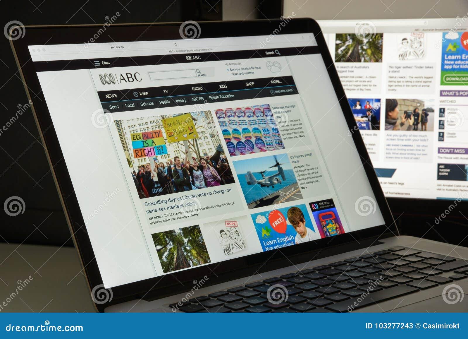 Milaan, Italië - Augustus 10, 2017: De homepage van de Abcwebsite Het is