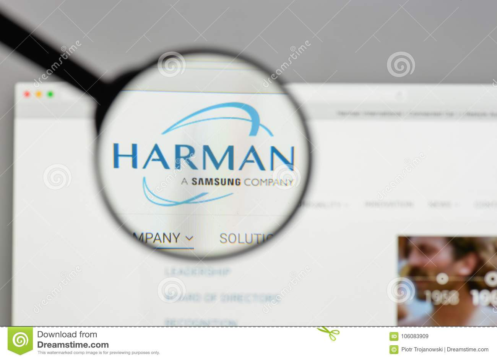 Milaan, Italië - Augustus 10, 2017: Harman International Industries