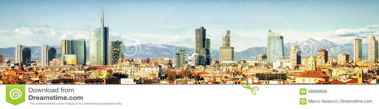 Milaan (Italië), horizon panoramische collage