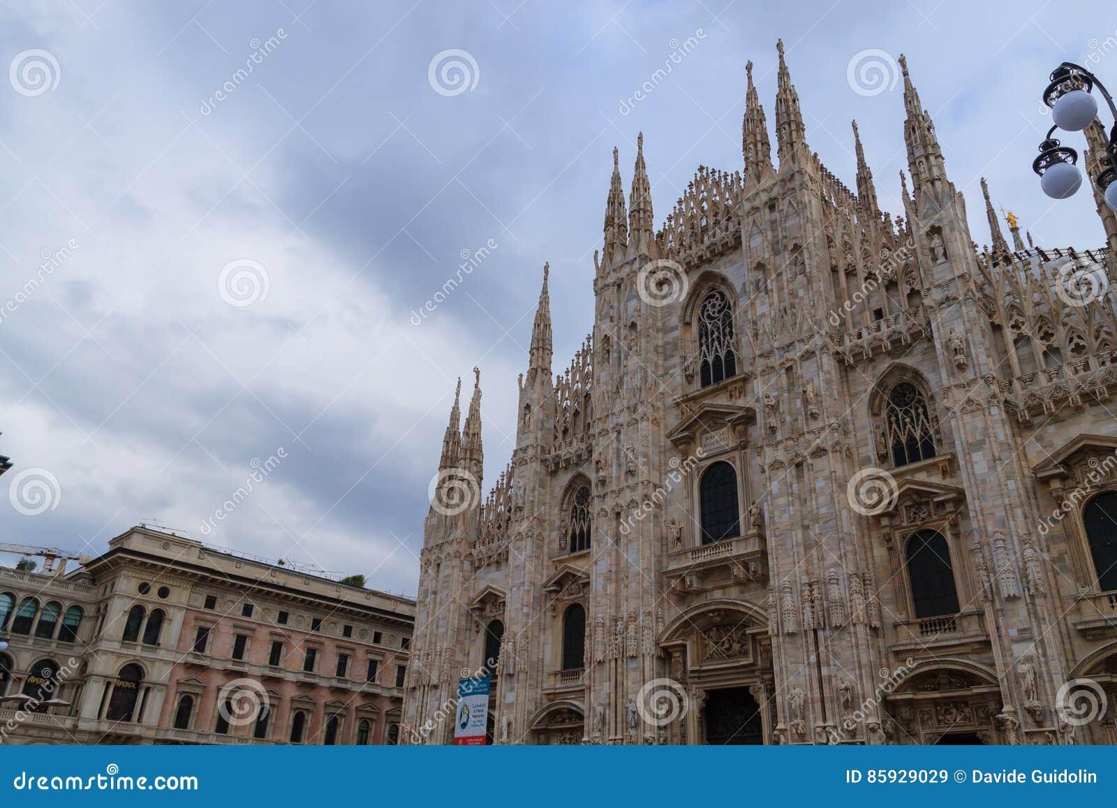 Famous Italian Architecture milan cathedral, duomo di milano, view. famous italian landmark