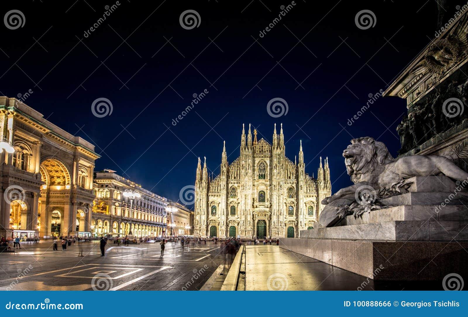 Milan Cathedral, Piazza del Duomo at night, Italy