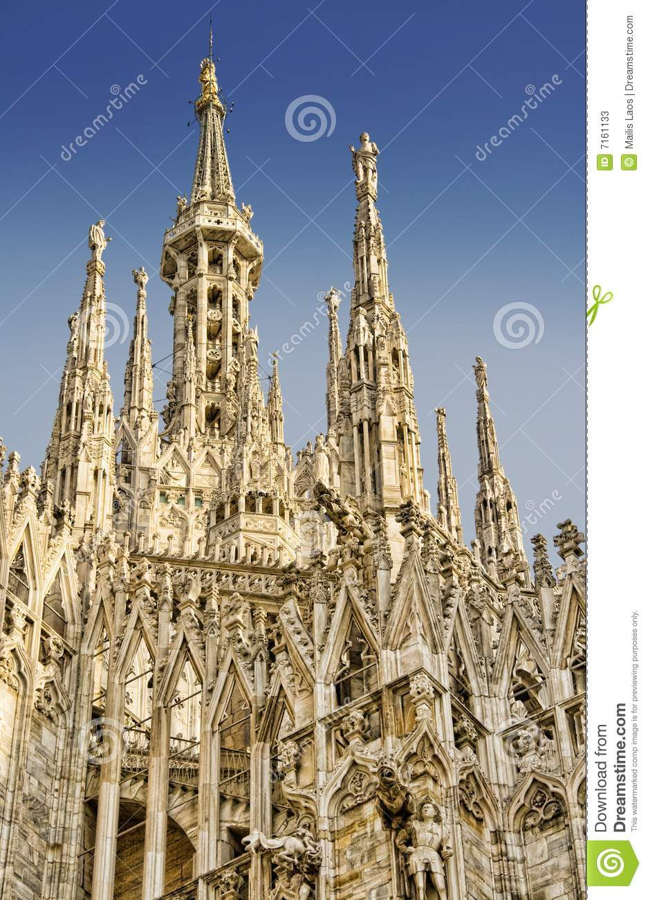 Milan Cathedral Roof And Madonnina Stock Image Image 7161133