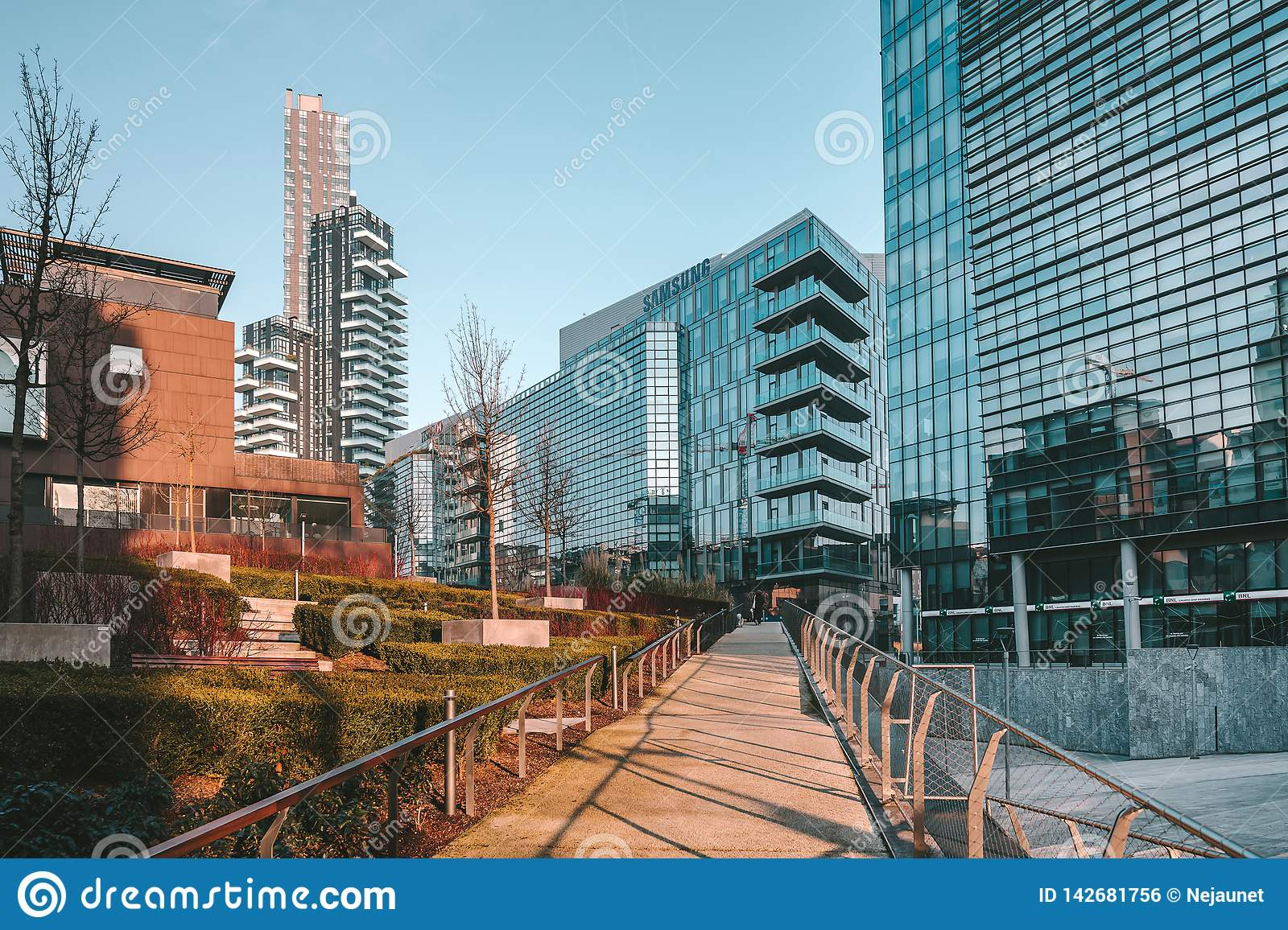 Milan City Modern Architecture Buildings Editorial Photo