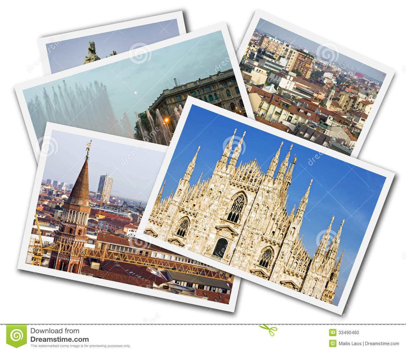 Download Milan Collage stock photo. Image of cityscape, postcards - 33490460