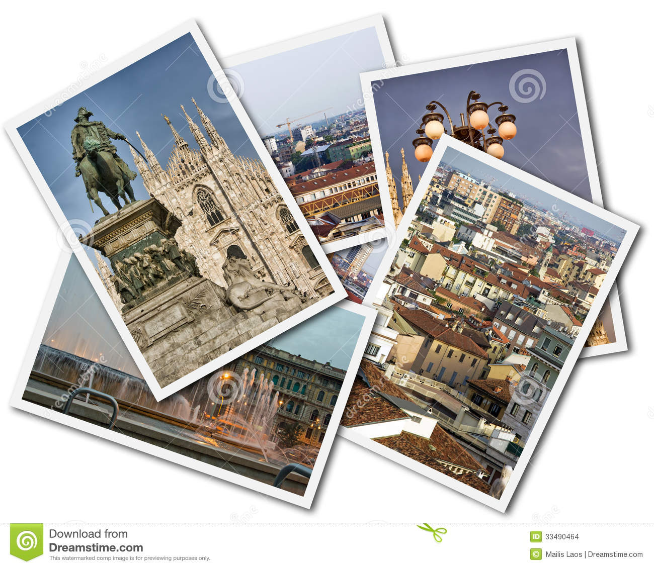Download Milan Collage stock photo. Image of historical, italian - 33490464