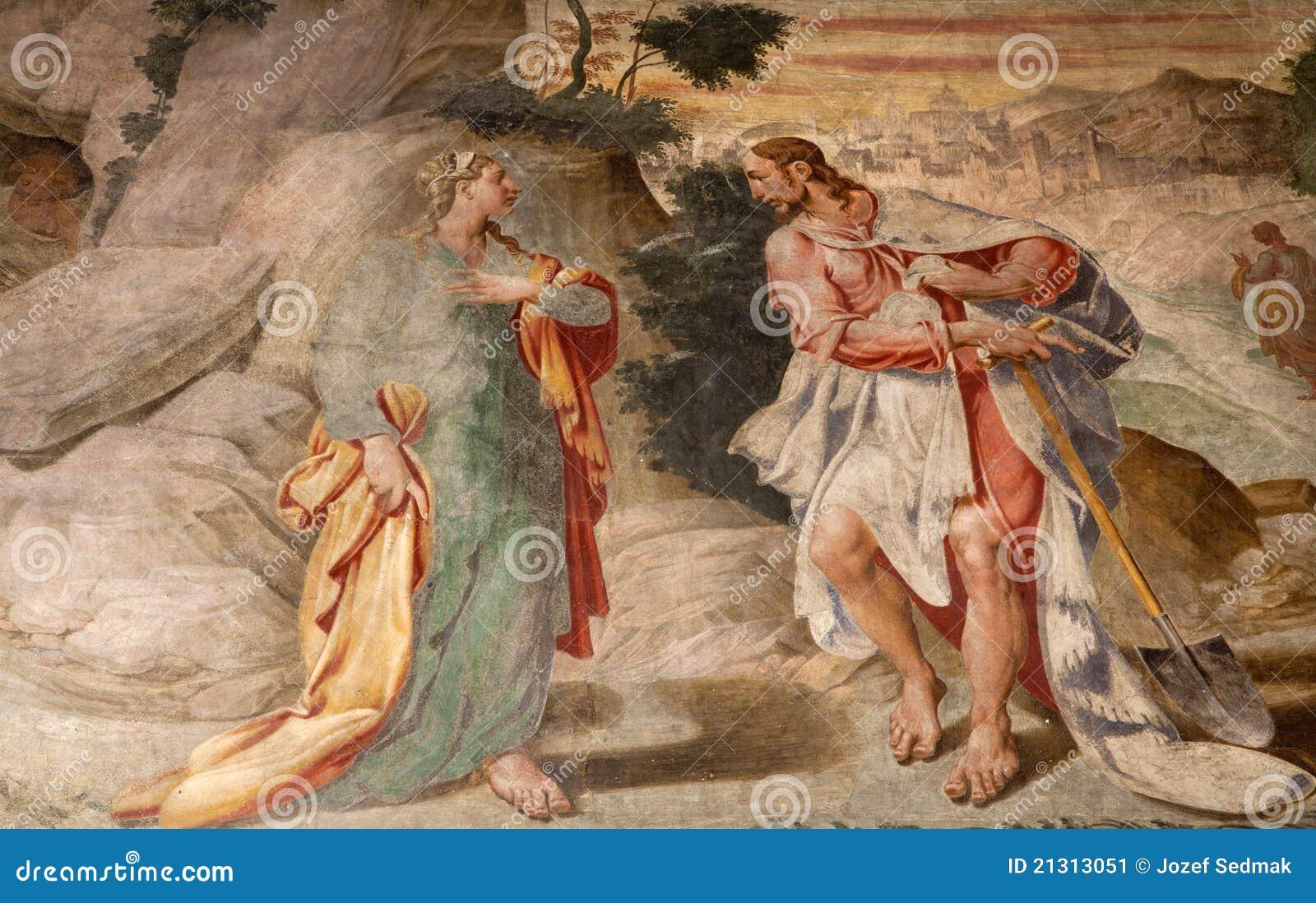 Milan - fresco - Jesus and Mary of Magdalene