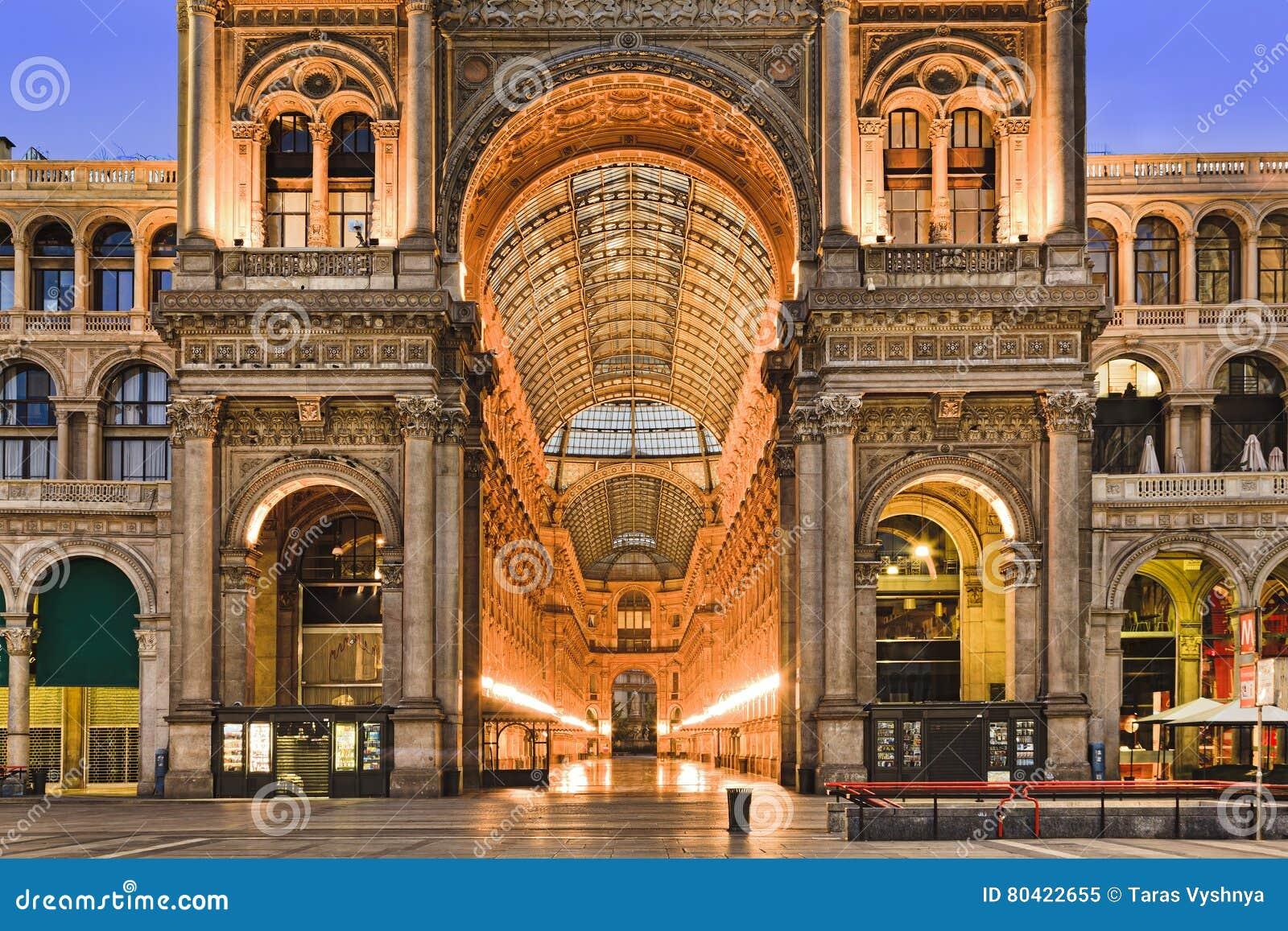 Milan Gallery Entrance Close Stock Image Image Of Europe Milan 80422655