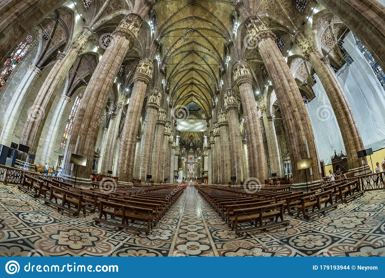 Milan Italy Aug 1 2019 Interior Of The Famous Cathedral Duomo Di Milano On Piazza In Milan Italy Fish Eye Lens Shot Editorial Stock Image Image Of Landmark Holy 179193944