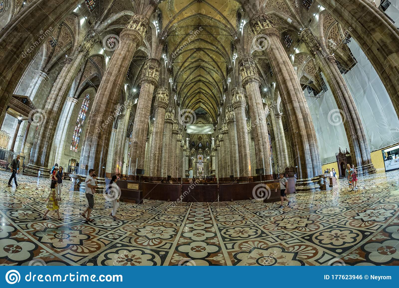 Milan Italy Aug 1 2019 Interior Of The Famous Cathedral Duomo Di Milano On Piazza In Milan Italy Fish Eye Lens Shot Editorial Photo Image Of Church Architecture 177623946