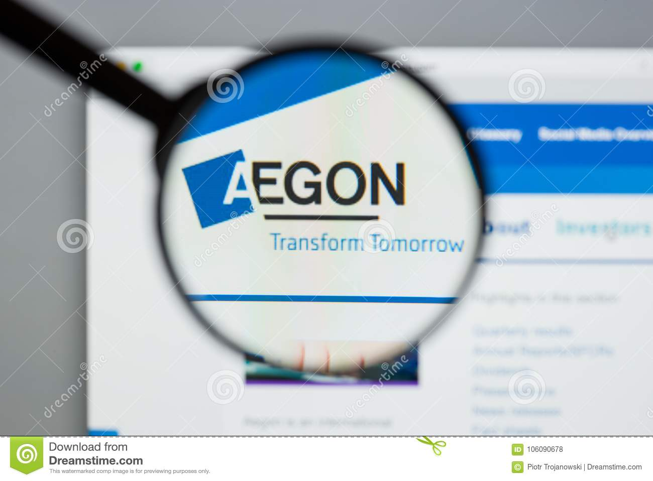Milan, Italy - August 10, 2017: Aegon website homepage. It is a