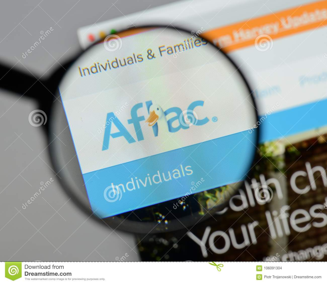 Milan, Italy - August 10, 2017: Aflac Website. It Is An ...