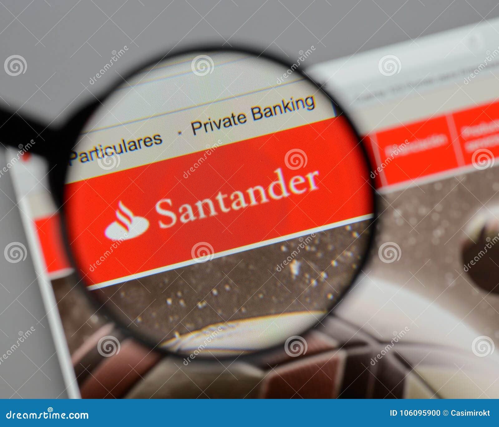 Milan, Italy - August 10, 2017: Banco Santander Logo On The Webs