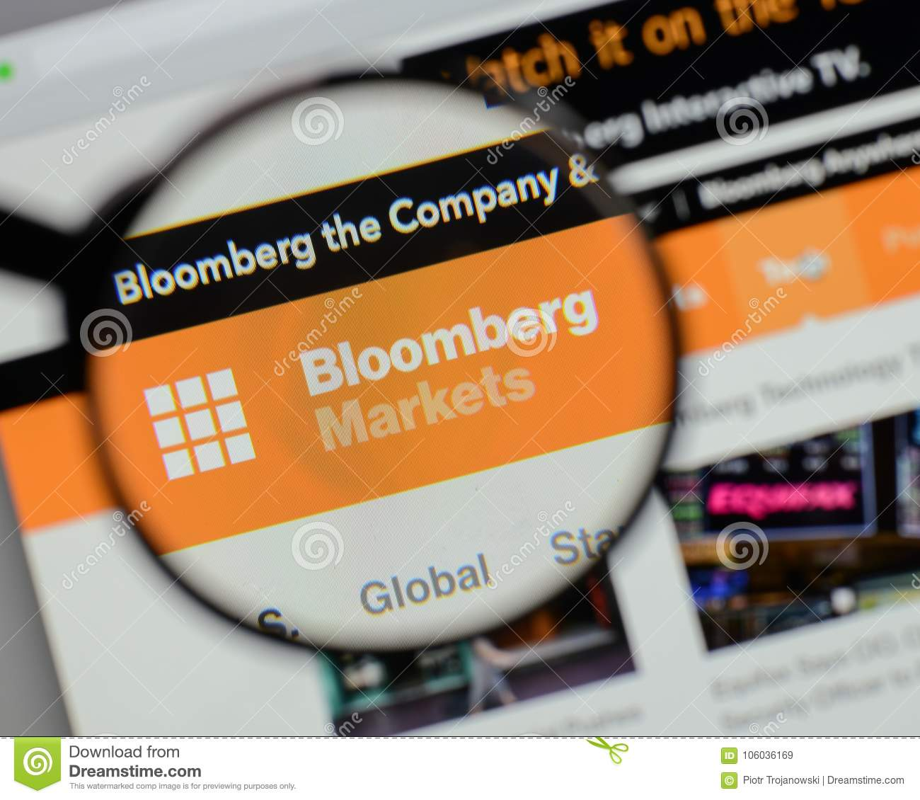 Milan Italy August 10 2017 Bloomberg Logo On The Website H