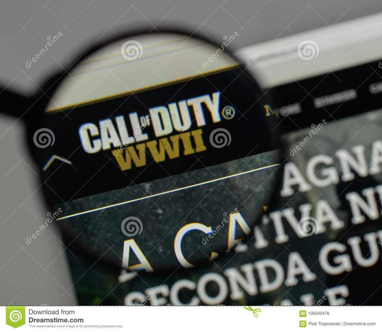 Milan Italy August 10 2017 Call Of Duty Logo On The Website
