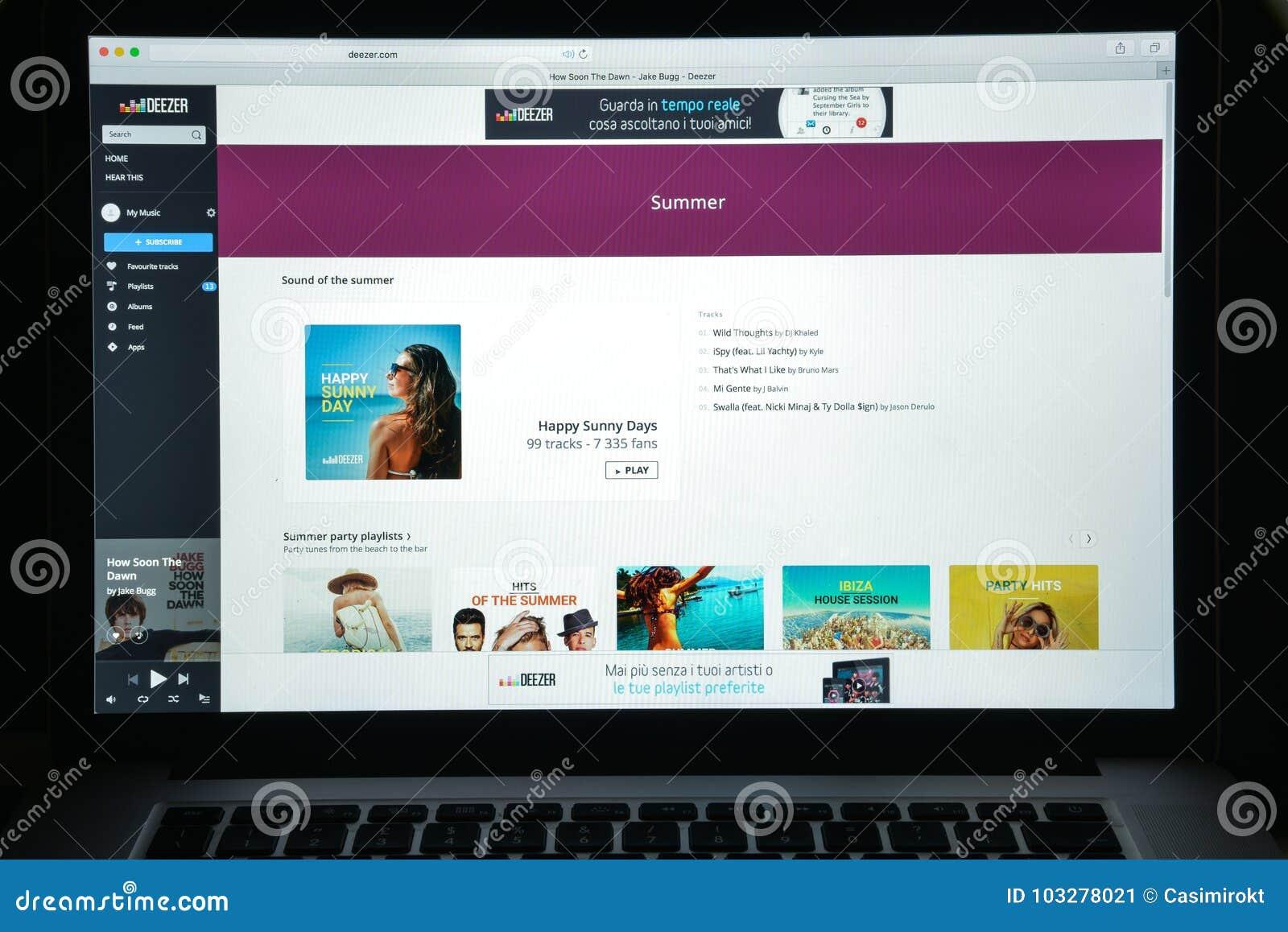 Deezer Homepage